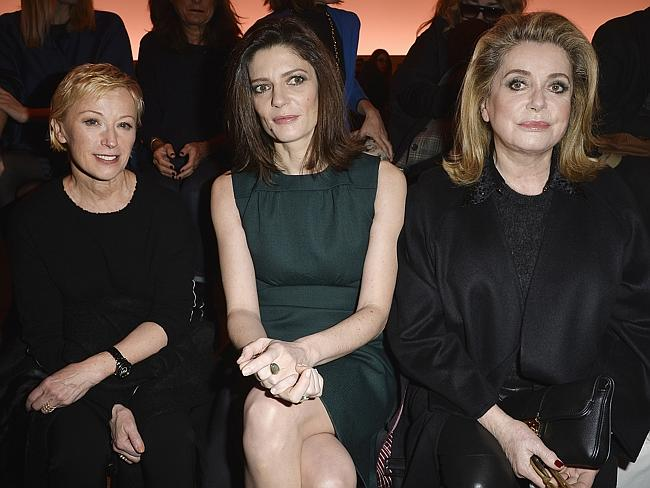 Great seats...Photographer Cindy Sherman and actors Chiara Mastroianni and Catherine Deneuve attend the Louis Vuitton show as part of the Paris Fashion Week. Picture: Getty