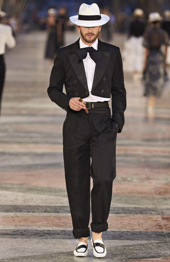 Serious Man-Chic: a bolero, panama and cropped pants. Picture: Chanel