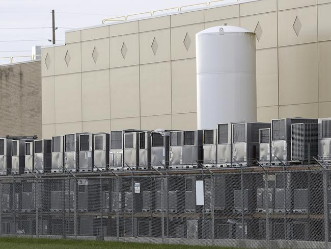 Airconditioning units are stacked outside the Carrier Corp. plant in Indianapolis. Picture: AP