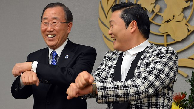 Even United Nations Secretary General Ban Ki-Moon can do South Korean singer Psy's Gangum Style moves. (Picture: AFP/Stan Honda)