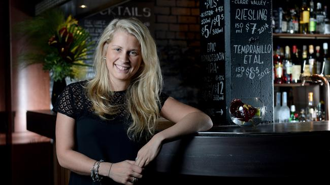 Maybe Mae owner Victoria Behrendt at her basement bar on Peel St. Picture: Naomi Jellicoe