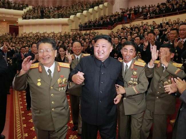 North Korean leader Kim Jong-un attending an art performance dedicated to nuclear scientists and technicians, who worked on a hydrogen bomb. Picture: AFP