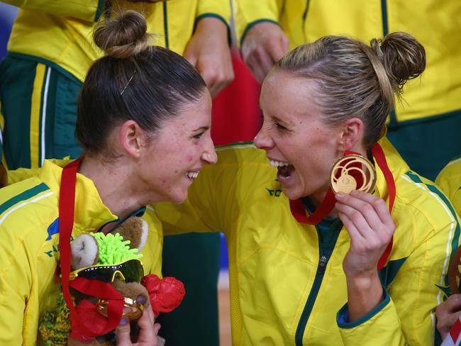 Gold medals ... Julie Corletto and Renae Hallinan of Australia celebrate their victory over New Zealand. Picture: Getty