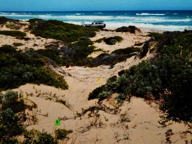 A photo tendered as evidence in the Salt Creek trial, showing tyre tracks in the sand dunes.