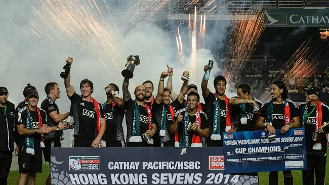 The New Zealand team celebrate their win over England. Picture: Philippe Lopez/AFP