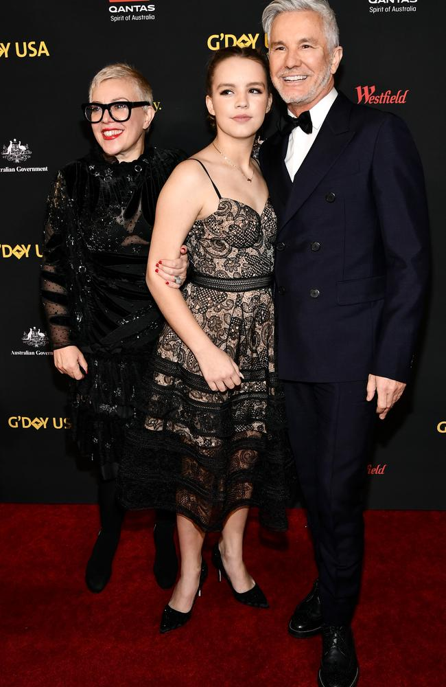 Catherine Martin (L) seen here with her daughter Lillian Luhrmann and husband Baz Luhrmann was honoured with a lifetime achievement award.