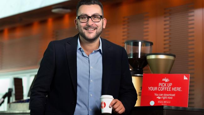 Skip General Manager Bill Bizos unveiling a new alliance with Qantas for its Skip app.