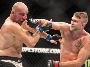 STOCKHOLM, SWEDEN - MAY 28: Alexander Gustafsson strikes Golver Teixeira during the UFC Fight Night event at Ericsson Globe on May 28, 2017 in Stockholm, Sweden. (Photo by Michael Campanella/Getty Images)