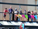 Spectators gets themselves an elevated spot at Port Adelaide for the start. Picture: Bianca De Marchi
