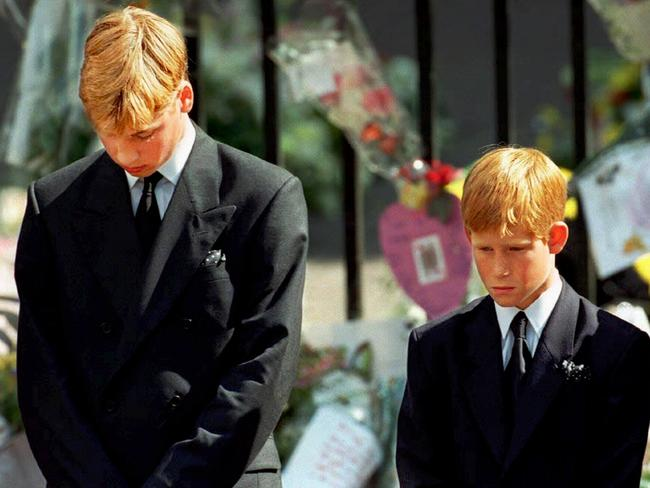 Harry, pictured here with older brother William at Princess Diana's funeral. Harry was just 12 years old when he said goodbye to his mother while the world watched.