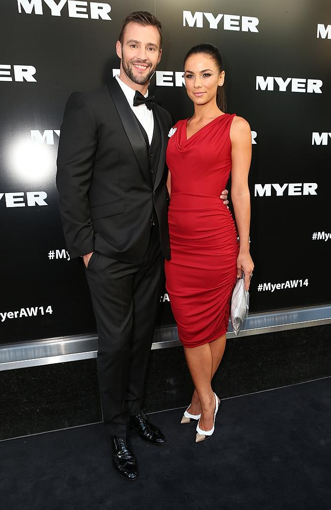 Kris Smith and Maddie King on the red carpet for the Myer autumn-winter collection. Picture: Julie Kiriacoudis