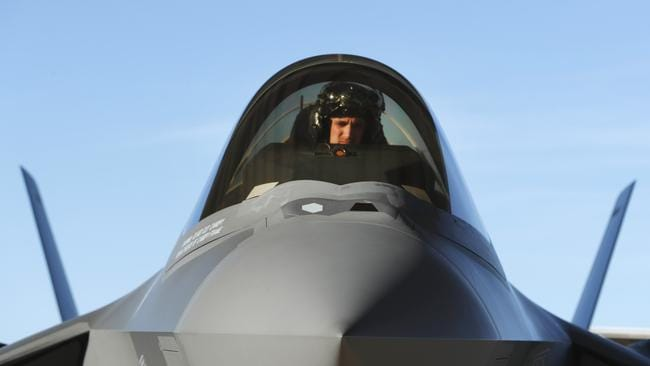 A US pilot sits in the cockpit of an F-35 fighter jet preparing for a training mission in March 2017 in Utah. Picture: George Frey
