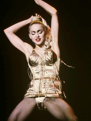 Madonna wears a Jean Paul Gaultier outfit during her Blonde Ambition tour. Picture: australscope