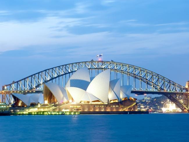 Sydney, Australia - October 28, 2013: Sydney Opera House with the Harbour Bridge in the background