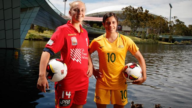 Young Matildas Grace Abbey and Alex Chidiac (right). Picture by Matt Turner.
