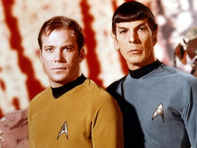 Co-stars ... William Shatner as Captain Kirk and Leonard Nimoy as Spock in Star Trek. Picture: Supplied