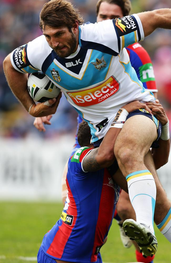 Dave Taylor was a one-man wrecking machine against the Knights. Pic: Brett Costello