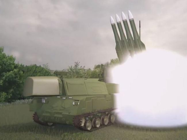 A computer simulation of a TELAR (Transporter Erecter Launcher and Radar) launching a 9M38 BUK missile of the type that shot down Malaysia Airlines Flight 17 (MH17) over Ukraine on July 17, 2014. Picture: JIT