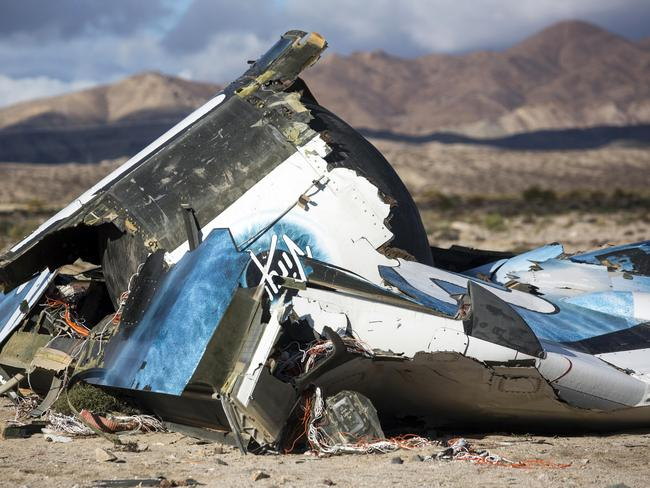 Part of the wreckage of the first Virgin Galactic space tourism rocket in the desert near Mojave, California, which killed pilot Mike Alsbury. Picture: AP / Ringo H.W. Chiu