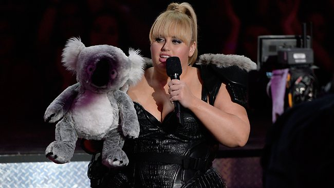 Host Rebel Wilson produces a soft toy koala, but the audience isn't laughing. Picture: Getty Images
