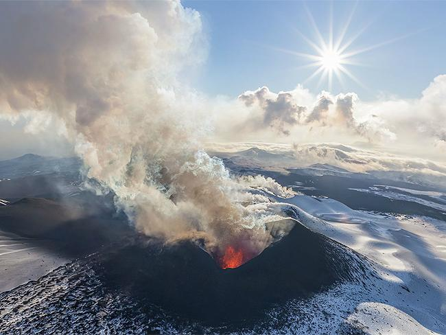 Multiple eruptions, Kamchatka: spectacular 360 degree Russian volcano panorama. Photo: AirPano.com