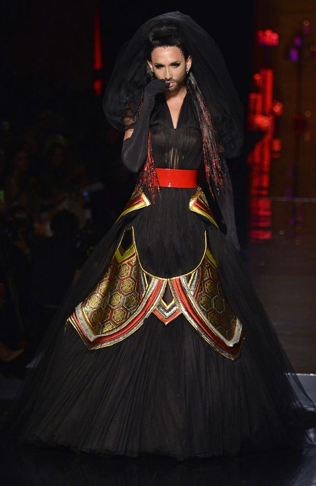 Conchita Wurst on the PFW runway for Jean Paul Gaultier. Picture: MIGUEL MEDINA