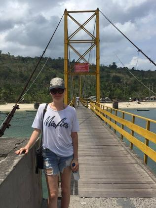 Perth tourist Jenifer Johnston on the suspension bridge. Picture: Emily de Vries