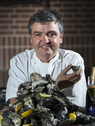 Sean Connolly, chef at The Morrison, with a plate full of oysters