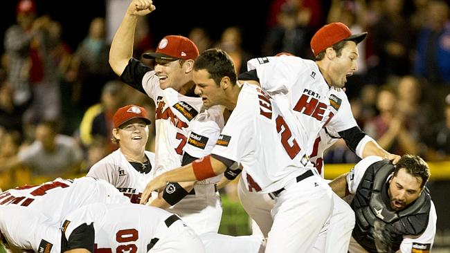 Perth Heat celebrate their grand final win over the Canberra Calvary. Picture: Matthew Poon