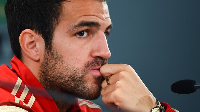 Cesc Fabregas of Spain faces the media.