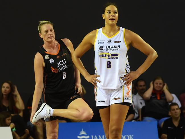 Fire's Suzy Batkovic and Boomers' Liz Cambage have had some great battles this season. Picture: Evan Morgan
