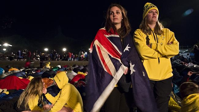 Paying their respects ... Australians Erinn Cooper, 22, and Laetitia Merlehan, 23, from t