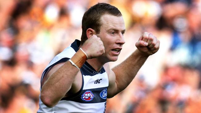 Johnson is a triple-premiership player with the Cats. Picture: Wayne Ludbey