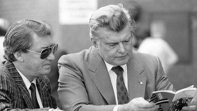 Roy Higgins and Bart Cummings at Caulfield in 1987.