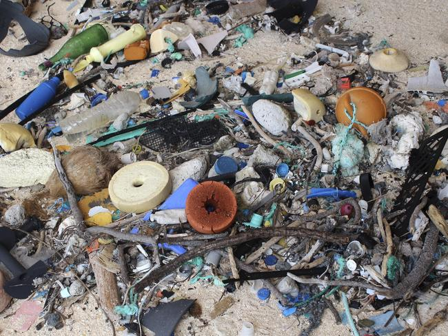 In this 2015 photo provided by Jennifer Lavers, plastic debris is strewn on the beach on Henderson Island.