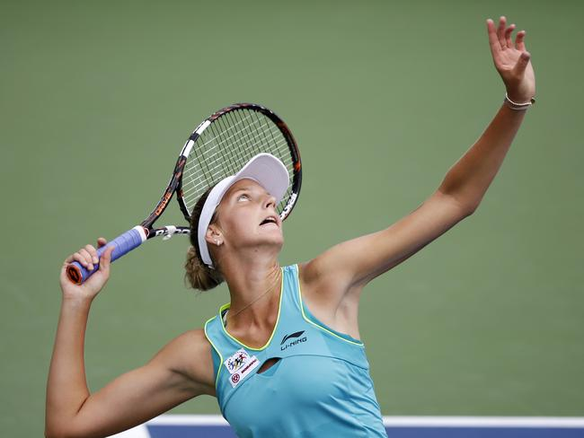 Kirolina Pliskova serves against Casey Dellacqua during the third round of the 2014 US Open. Picture: Seth Wenig