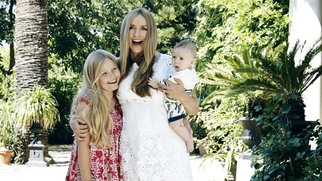 Collette Dinnigan with children Estella and Hunter.