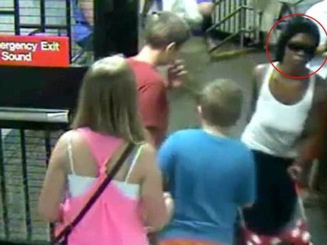 Caught on camera ... The mother who left her seven-month-old baby on a subway platform is caught on surveillance video.