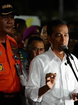 Indonesia's President Joko Widodo speaks during press conference at the AirAsia crisis centre. Picture: Robertus Pudyanto