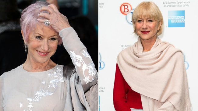 Helen Mirren's new edgy style and Mirren playing it safe at a screening of L'Atalante last month. Picture: Getty Images