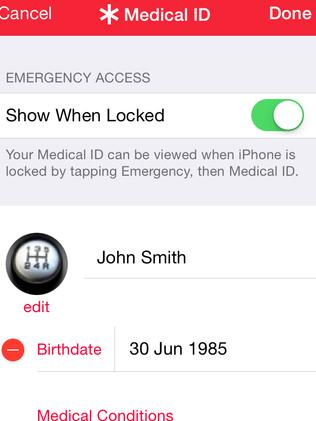 Medical ID ... add emergency contacts and allergies in the Health App.
