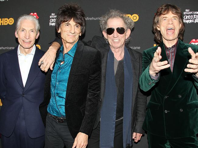Still rolling after all these years ... Charlie Watts, Ronnie Wood, Keith Richards and Mick Jagger pictured in 2012. Picture: AP Photo/Starpix, Dave Allocca