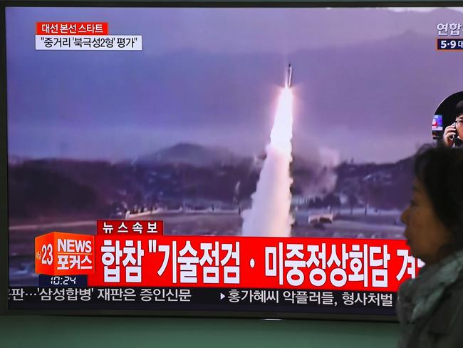 Nuclear-armed North Korea fired a ballistic missile into the Sea of Japan on April 5, just ahead of a highly-anticipated China-US summit. Picture: AP/Jung Yeon-Je