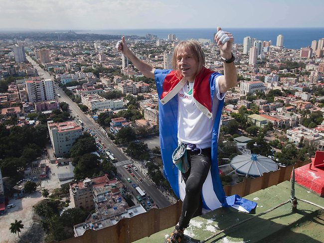 Once the city's Hilton, Robert was able to reach the top of the 27-storey building in 30 minutes. Picture: AP