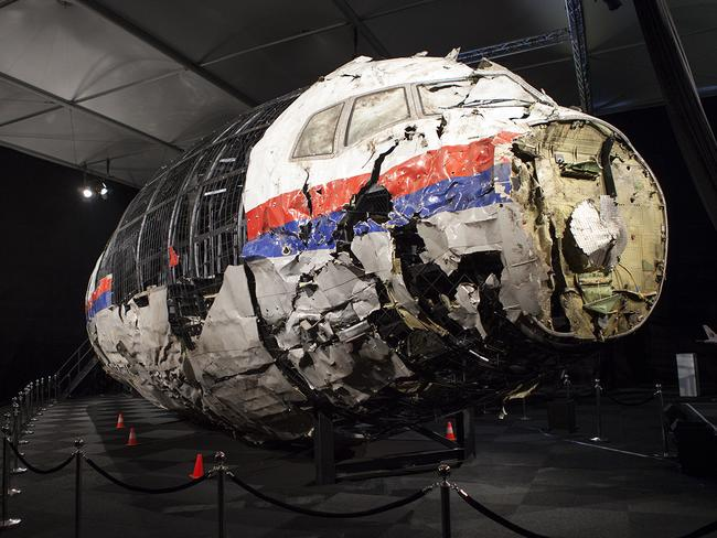 A reconstructed section of the Malaysia Airlines plane that was downed by a missile over Ukraine, killing 298 people at the Gilze-Rijen air force Base, the Netherlands. Picture: Dutch Safety Board/AAP Image