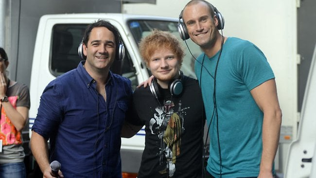 Nova 969 boys Fitzy and Wippa catch up with Ed Sheeran after his live performance in Martin Place. Picture: Supplied