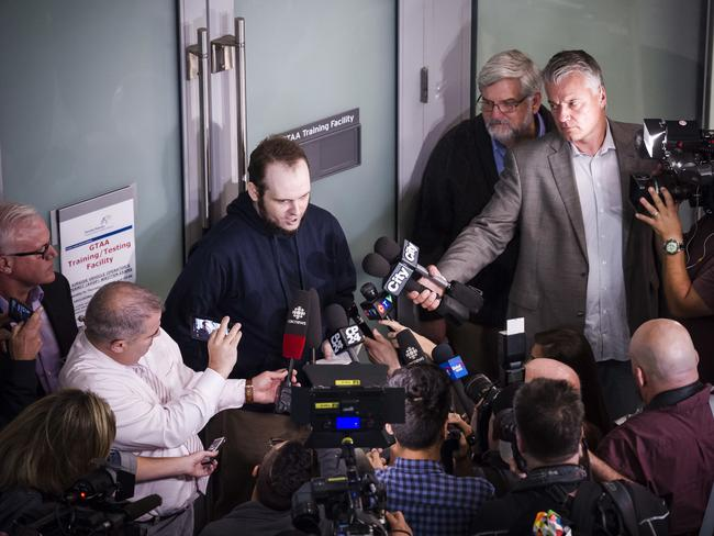 Mr Boyle addressed a media pack upon his return to Canada on Friday. Picture: Christopher Katsarov