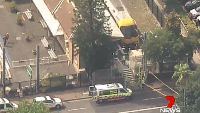 A train has overshot the platform at Richmond Station and crashed into a barricade. Picture: Seven News