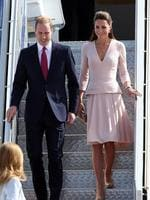 Prince William, Duke of Cambridge and Catherine, Duchess of Cambridge arrive at RAFF Base Edinburgh in Adelaide. Picture: Getty