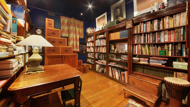 The original kitchen was converted into a library.